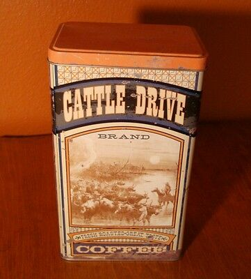 TIN METAL CATTLE DRIVE COWBOY COFFEE CANISTER Old West Western Kitchen Decor