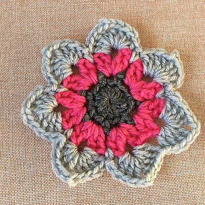 PINK & GREY MANDALA CROCHET FLOWER - embellishment - made in Aust.