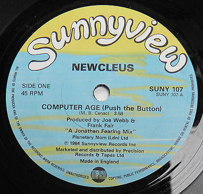 "Newcleus-Computer Age-UK VINYL Sunnyview 7""-Electro Electronic Synth-1984-HEAR"