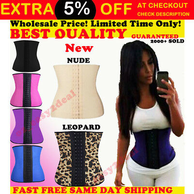 AU Women Latex Waist Trainer Training Corset Cincher Body Shapewear Underbust