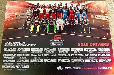 2016 V8 Supercars Race Drivers Poster Fully Handsigned Holden Ford Nissan Volvo