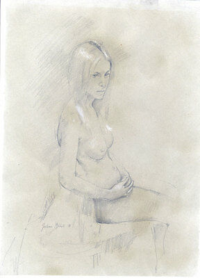Julian Gordon Mitchell - Contemporary Graphite Drawing, Study of Female Nude