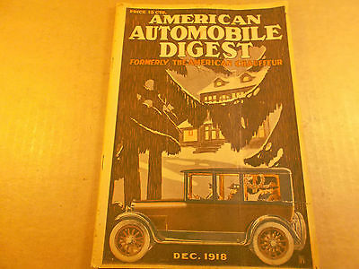 American Automobile Digest, 1918, Formerly American Chauffeur Magazine, Old Cars