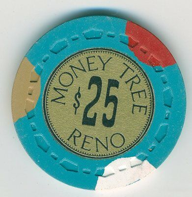 1960s $25 chip from the Money Tree Casino, Reno, small crown mold