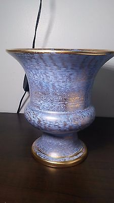 Stangl Art Pottery Vase #3987 Mid Century Gold Wash Over Blue
