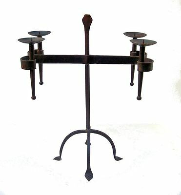 Antique Arts & Crafts Wrought Iron Candle Holder Candelabra Fireplace Insert