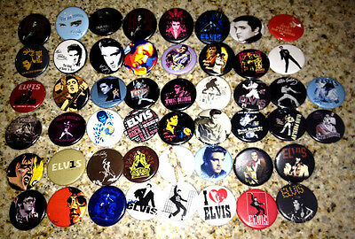 Set of 50 Elvis Presley collectible pins/buttons/badges king of rock