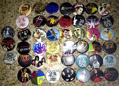 Set of 45 Queen collectible pins/buttons/badges freddie mercury