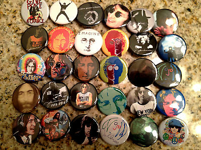 Set of 30 John Lennon collectible pins/buttons/badges the beatles