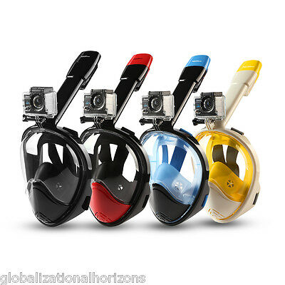 AU Full Face Snorkeling Snorkel Mask Diving Goggles Pipe -2nd Version For GoPro