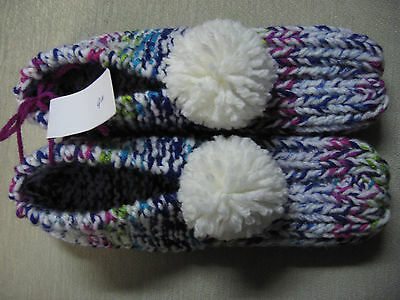 """New Amish Handmade House Slippers Bright Rainbow Colors Womans Med Mans Sm 9"""""""
