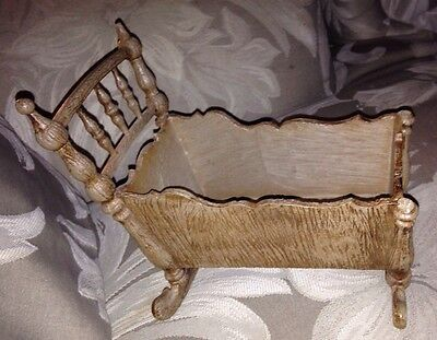 "Molded Plastic Faux Wood Gothic Toy Crib 8"" Made In France"