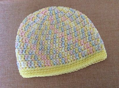 MIXED PINK BLUE YELLOW CROCHET BABY BEANIE  - 3 - 6 months  made in WA