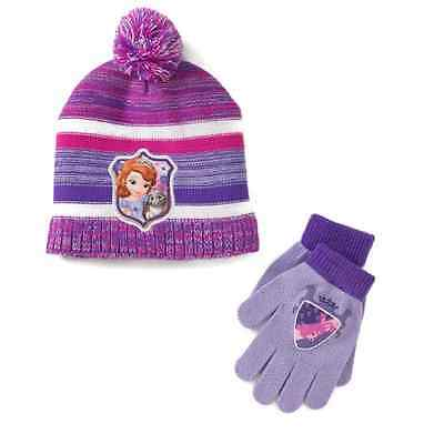 NWT Disney Sofia the First Hat & Gloves Set Girls (Purple)