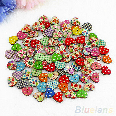 100X Heart Shaped 2 Holes Wood Sewing Buttons Scrapbooking Knopf Bouton Novelty