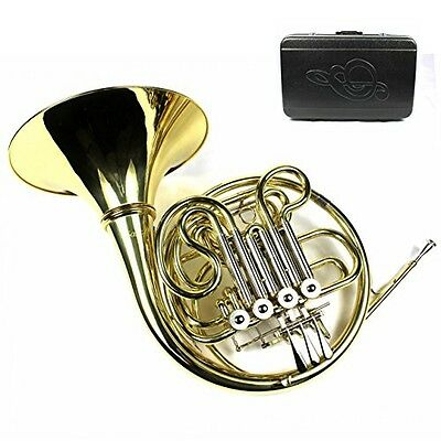 Moz Monel Rotors Bb/F 4 Keys Double French Horn w/Case & Mouthpiece-Gold Lacquer