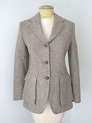 Vtg 60s 70s Harris Tweed Taupe Hacking Jacket Blazer Suede Elbow Patches S