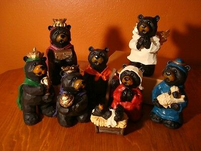 Faux Wood Carved BLACK BEAR Lodge Nativity Scene Cabin Christmas Decor Set NEW