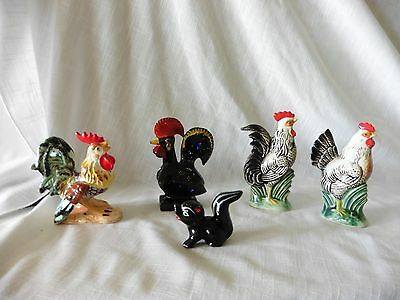 Vintage Ceramic Lot  of Hen and Rooster Chicken Figurines  Made In Japan