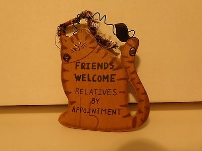 Tabby Kitty Cat Wood Wire Sign Hanging Plaque Wall Art