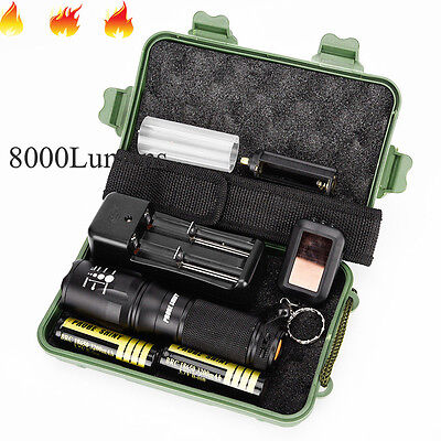 8000Lumens G700 X800 LED Zoom Military Grade Tactical Flashlight Battery Set US
