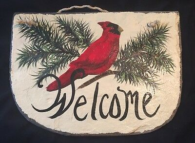 "CARDINAL BIRD Welcome PERSONALIZE Family Name Here Handpainted Slate 11"" X 15.5"""