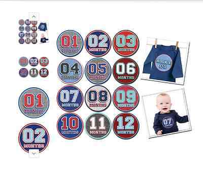 Sticky Bellies Baby Sporty Shorty First Year Month Stickers New!