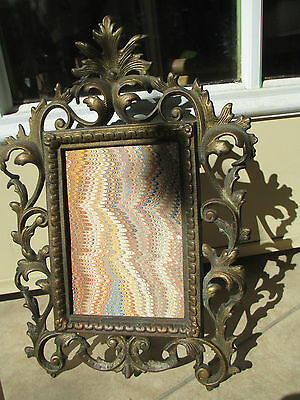 Antique Gilt Bronze/Brass w easel selfstanding table picture frame