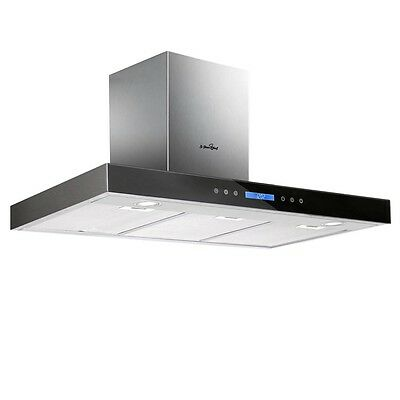 900mm/90cm Rangehood Stainless Steel / Black Tempered Glass with Remote