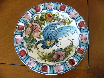 Hand painted dish with fluted edge- Spanish style