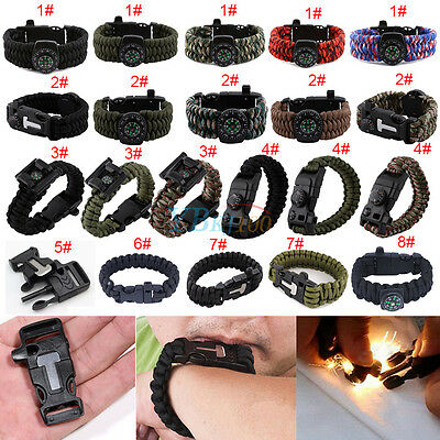 Assorted Survival Bracelet Outdoor Paracord Flint Fire Starter Scraper Gear Kits