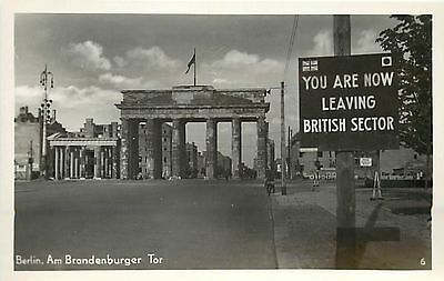 GERMANY -  Berlin; Sign says Leaving British Sector; c.1960 Real Photo Postcard