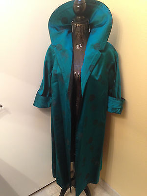 Stunning Vintage 1950's Chinese Silk Reversible Peacock Bl/Blk Long 3/4Slv Coat