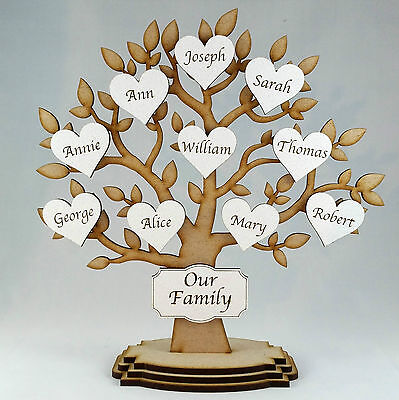 Personalised Wooden Family Tree Freestanding,Gift Decoration shabby chic,wedding