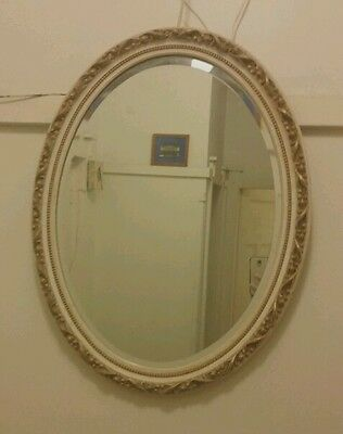 Gorgeous Shabby french provdence vintage Gold Ivory White Oval Hanging Mirror