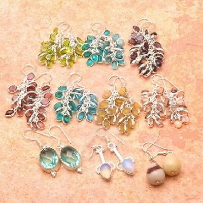 """925 Sterling Silver Plated 10X Wholesale Grape Glass Earrings 2""""-1 3/8"""""""