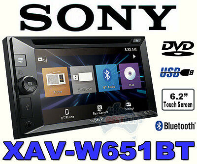 Sony Double Din Car Audio DVD CD Media Receiver Bluetooth USB XAV-W651BT