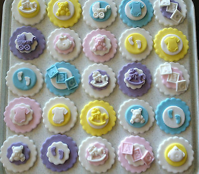 12 x Edible Boy / Girl Christening / Baby Shower Baby Feet Cupcake Toppers