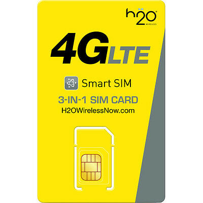 H2O Wireless PreLoaded sim (3 in 1) with$30 Plan Unlimited talk text 3GB DATA
