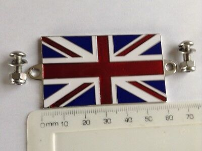 Enamel & Chrome Badge GB Union Jack Flag Car & Motorcycle Triumph Spitfire Wing