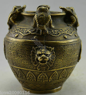 Collectible Decorated Old Handwork Copper Carved Toad Spittor Bring Money Pot