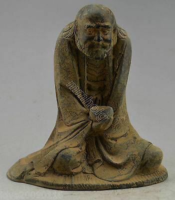 Collectible Decorated Old Handwork Bronze Carved Buddha Bodhidharma Statue