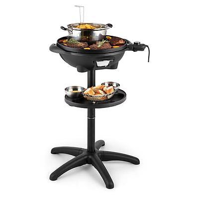 Grillpot Electric Stand Grill By Klarstein Built in Fryer 40cm Cast Iron 1600w