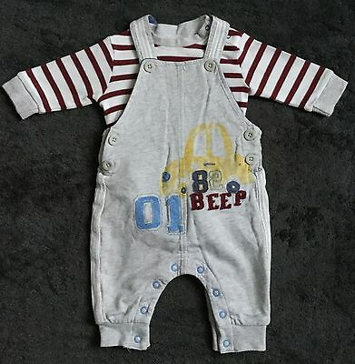 Next Boys Car Dungarees Outfit Set With Burgundy Striped Vest 0-3 Months