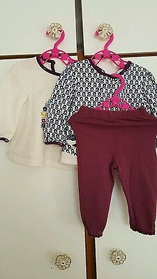 Bundle age 3-6 months  girls two tops with birds and leggings ♡♡♡Boots 3 items.