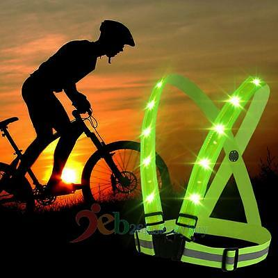 LED Adjustable Visibility Reflective Vest Gear Stripes for Outdoor Night Safety