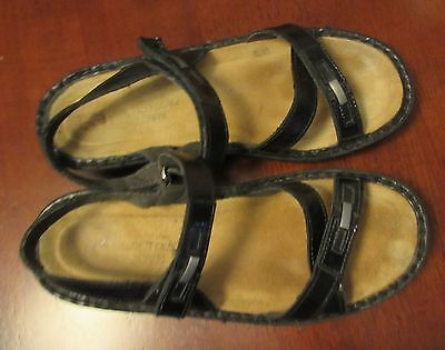 Black Leather Preowned NAOT Sandals.  Size 39 - 8 Velcro strap in great cond