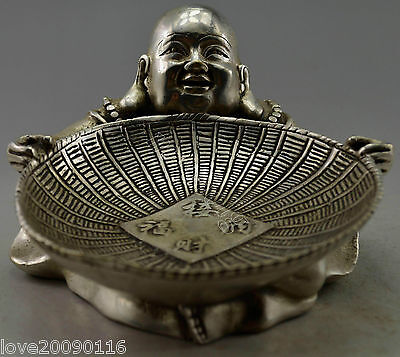 Collectible Old Handwork Silver Plate Copper Carved Buddha Hold Dustpan Statue