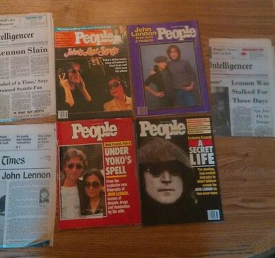 lot of 1980's John Lennon U.S. Magazines & newspaper headlines in ex condition