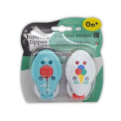 Tommee Tippee 2 Soother Holders Closer to Nature 0m+ Blue White 1 2 3 6 Packs